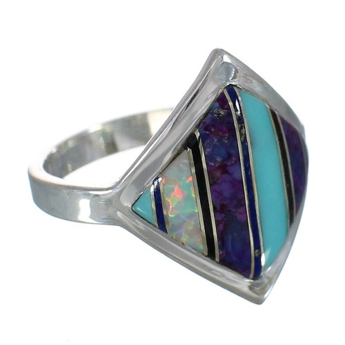 Sterling Silver Multicolor Inlay Jewelry Ring Size 7-3/4  MX60145