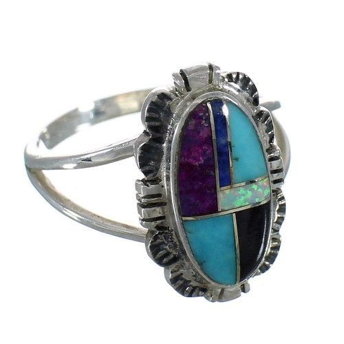 Southwest Silver Multicolor Inlay Jewelry Ring Size 6-1/2 MX60492