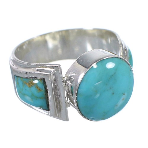 Turquoise Southwest Silver Ring Size 7 QX79203