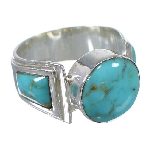 Genuine Sterling Silver Southwestern Turquoise Ring Size 8-1/2 QX79248