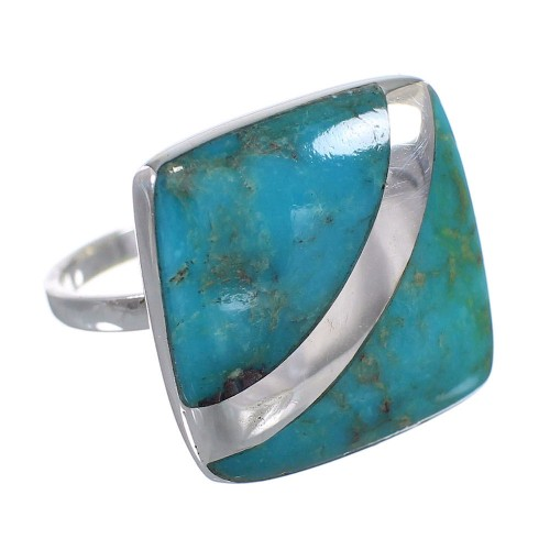 Silver Turquoise Ring Size 7-1/2 AX79542