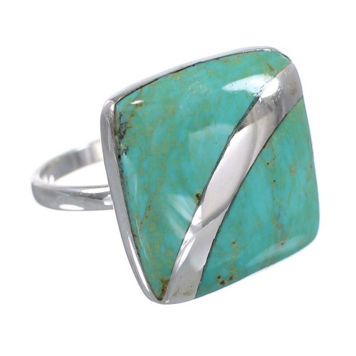 Turquoise Southwest Sterling Silver Jewelry Ring Size 7-1/2 AX79559