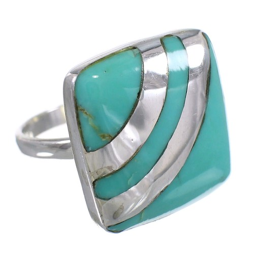 Sterling Silver Turquoise Southwest Ring Size 6 QX79315
