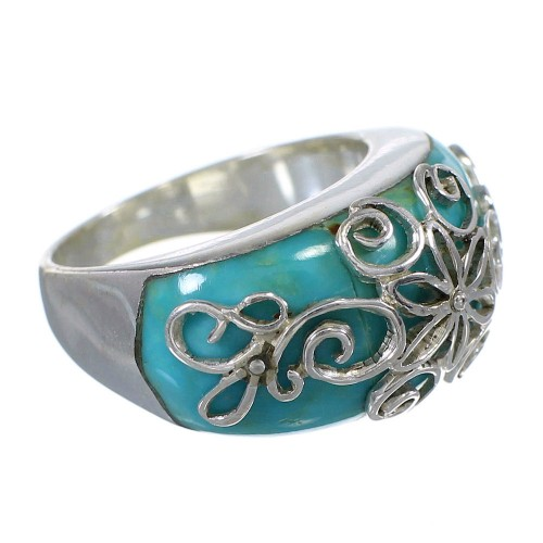 Authentic Sterling Silver Turquoise Southwest Ring Size 6-1/2 AX79596