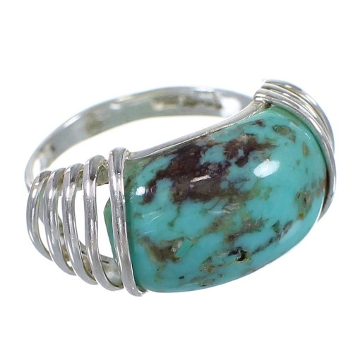 Turquoise Genuine Sterling Silver Southwestern Jewelry Ring Size 5-1/2 QX79378