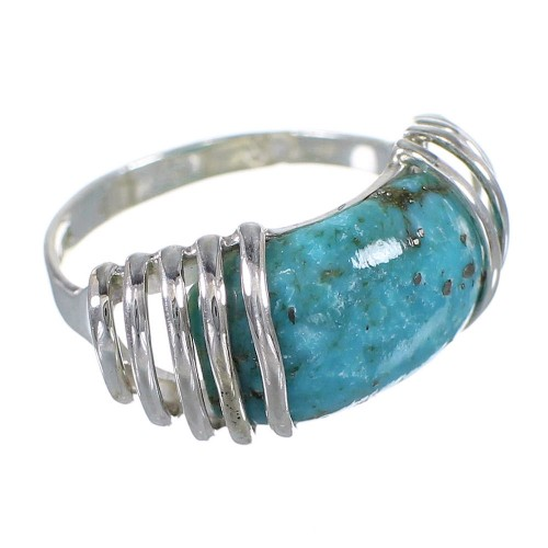 Southwest Sterling Silver Turquoise Jewelry Ring Size 6-1/2 QX79404