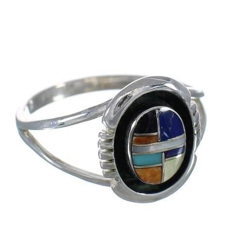 Multicolor Inlay Silver Southwest Ring Size 7 MX60826