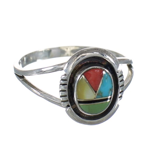 Sterling Silver Multicolor Jewelry Southwest Ring Size 5-3/4 MX60864