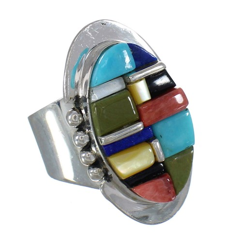 Silver Multicolor Inlay Jewelry Ring Size 7-3/4 MX61112