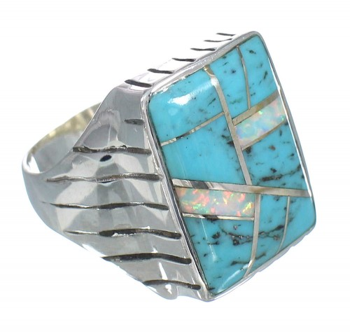 Turquoise Opal Inlay Sterling Silver Ring Size 12-1/4 RX61608