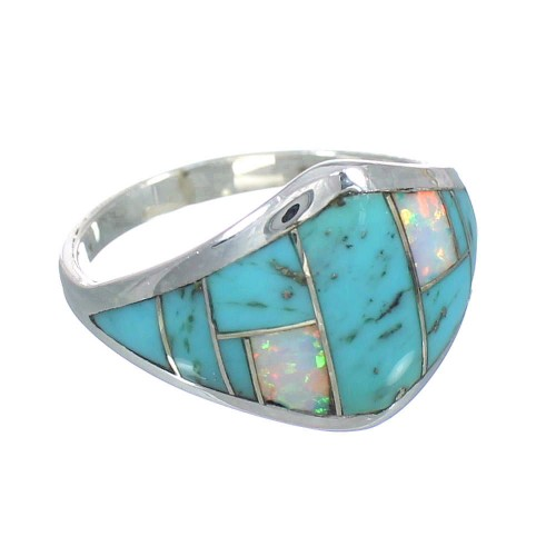Turquoise And Opal Inlay Genuine Sterling Silver Ring Size 7-3/4 RX61776