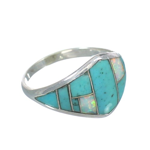 Authentic Sterling Silver Southwest Opal And Turquoise Inlay Ring Size 6-1/4 RX61787
