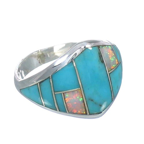 Turquoise Opal Inlay Authentic Sterling Silver Ring Size 4-3/4 RX61796