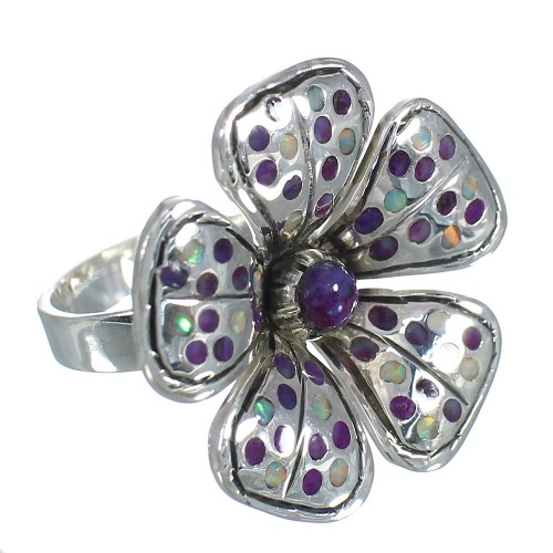 Southwest Magenta Turquoise Opal Genuine Sterling Silver Flower Ring Size 7-1/2 RX61400