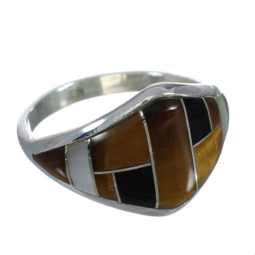 Authentic Sterling Silver And Multicolor Inlay Southwest Ring Size 8-1/4 VX62007