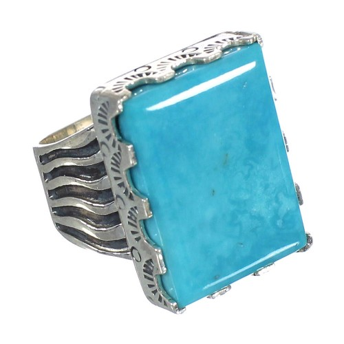 Southwest Turquoise And Genuine Sterling Silver Jewelry Ring Size 4-3/4 WX62105