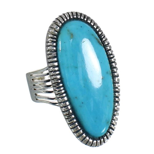 Southwest Turquoise Jewelry Silver Ring Size 5 WX62258
