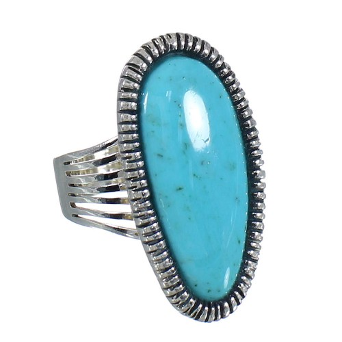 Turquoise And Silver Southwest Jewelry Ring Size 7-3/4 WX62260