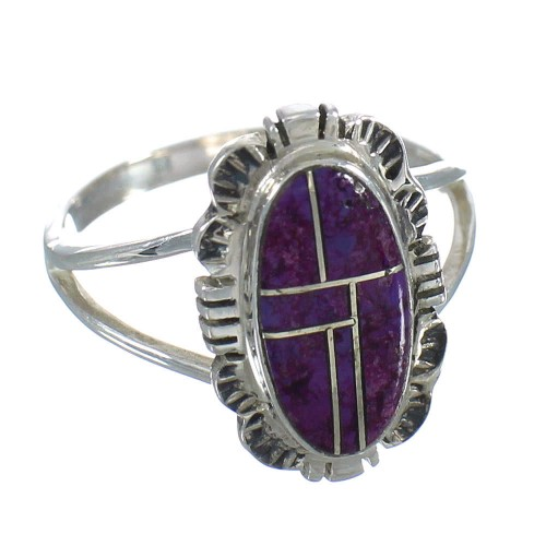 Magenta Turquoise Inlay Silver Jewelry Ring Size 6-1/4 MX61668