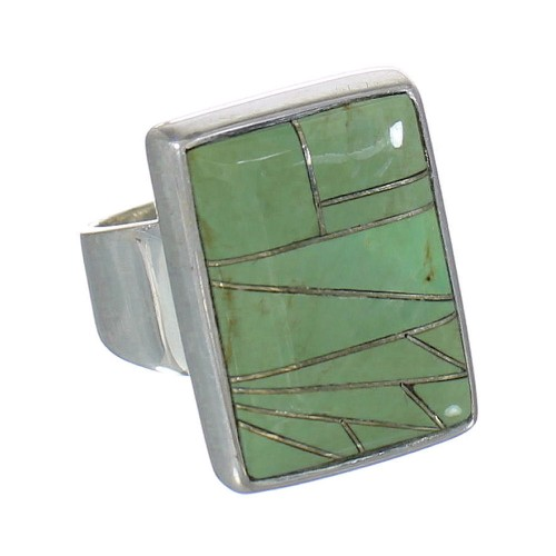 Sterling Silver Turquoise Inlay Ring Size 6-3/4 MX62310