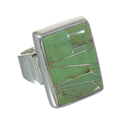 Turquoise Inlay Silver Southwest Ring Size 7-1/4 MX62345