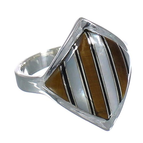 Genuine Sterling Silver Multicolor Inlay Jewelry Ring Size 7-1/2 VX61703