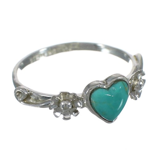 Southwestern Genuine Sterling Silver And Turquoise Heart Flower Ring Size 6-1/4 WX80481
