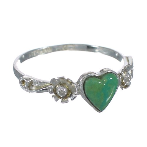 Genuine Sterling Silver Flower Southwest Turquoise Heart Ring Size 5-1/2 WX80532