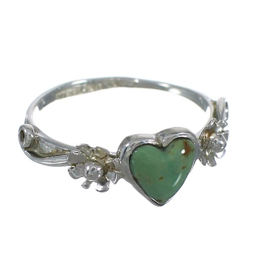 Turquoise Heart Authentic Sterling Silver Flower Southwestern Ring Size 7-1/4 WX80591