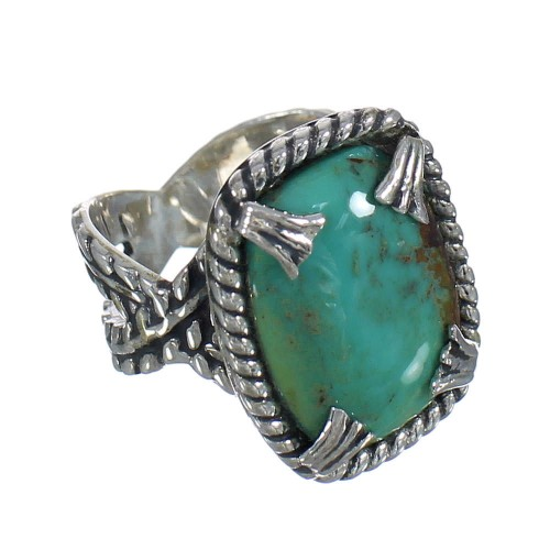Turquoise Southwest Sterling Silver Ring Size 6-1/4 QX80380