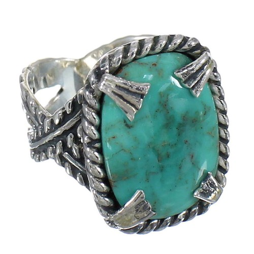 Silver Turquoise Southwest Ring Size 7 QX80400
