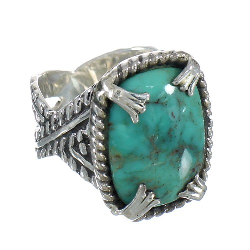 Southwestern Turquoise Silver Ring Size 8 QX80438