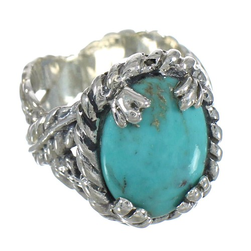Genuine Sterling Silver And Turquoise Ring Size 6-1/2 RX62024