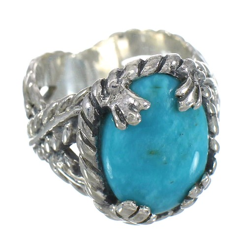 Sterling Silver And Southwest Turquoise Ring Size 6-3/4 RX62028