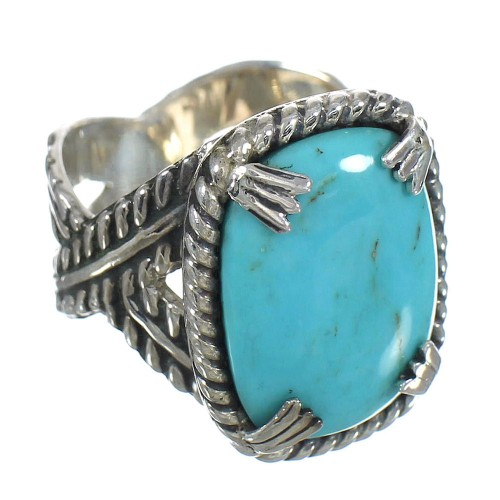 Authentic Sterling Silver Southwest Turquoise Ring Size 8 RX62092
