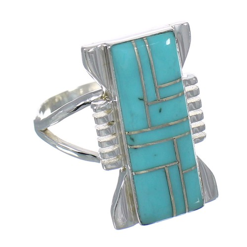 Authentic Sterling Silver Southwestern Turquoise Ring Size 7 RX62169