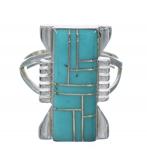 Genuine Sterling Silver And Turquoise Ring Size 7-3/4 RX62175