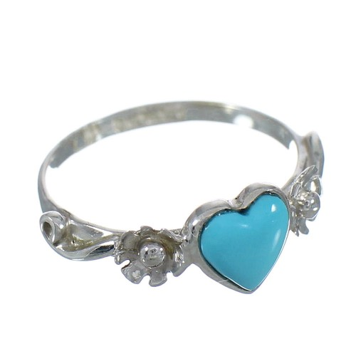 Authentic Sterling Silver Southwest Turquoise Heart Flower Ring Size 6-1/4 RX62353