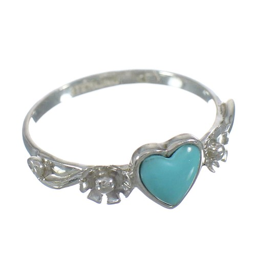 Genuine Sterling Silver Turquoise Heart Flower Ring Size 5-1/4 RX62385
