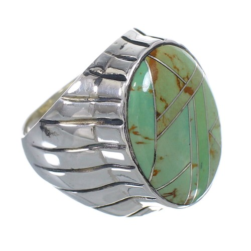 Turquoise Inlay Genuine Sterling Silver Jewelry Ring Size 9 VX61378
