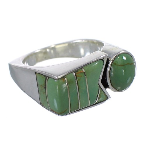 Sterling Silver Turquoise Inlay Ring Size 5-1/4 VX61419