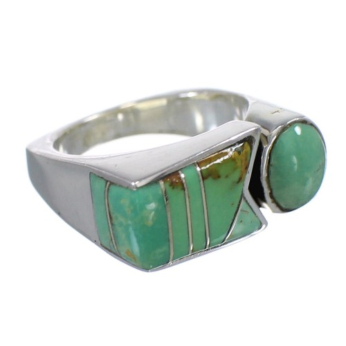 Authentic Sterling Silver Turquoise Inlay Ring Size 6 VX61422