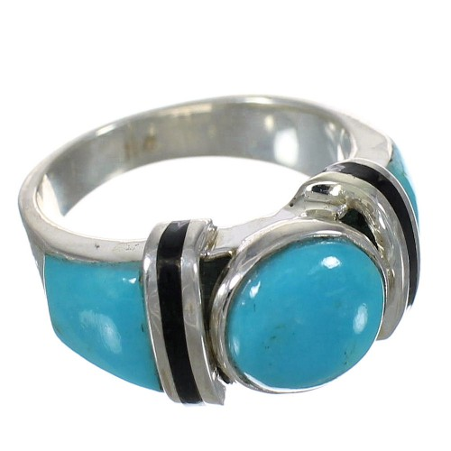 Jet And Turquoise Genuine Sterling Silver Jewelry Ring Size 8-1/4 AX82449