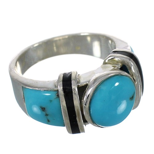 Silver Turquoise And Jet Ring Size 6-1/4 AX82511