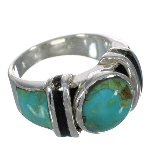 Silver Southwestern Jet And Turquoise Inlay Ring Size 4-1/2 AX82571