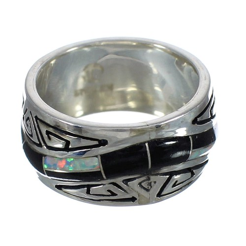 Jet And Opal Inlay Silver Water Wave Ring Size 8-1/4 AX82697