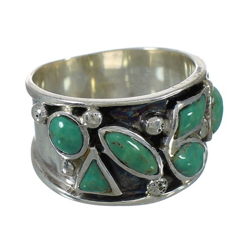 Southwestern Jewelry Turquoise Silver Ring Size 6-3/4 AX92741