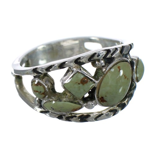 Silver Turquoise Southwestern Ring Size 7-1/2 YX92729