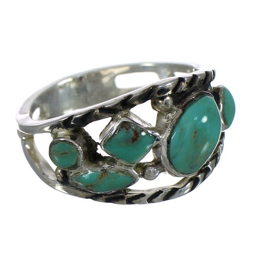 Sterling Silver Turquoise Southwest Jewelry Ring Size 7-1/2 YX92935