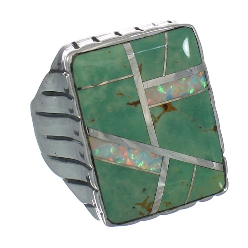 Opal Turquoise Sterling Silver Southwestern Ring Size 9-1/2 YX82480